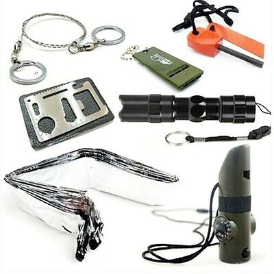 Survival Kit Whistle Fire Starter Wire Saw Cree Torch Emergency Blanket Tools