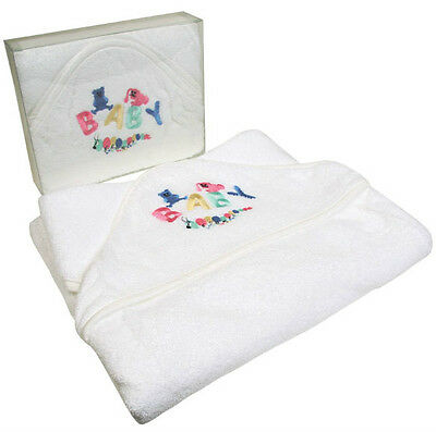 White 100% Cotton Baby Girl Boy Newborn Embroidered Hooded Towel