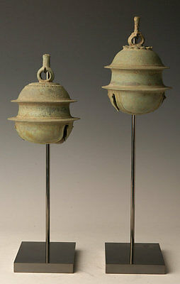 12th Century, Angkor Vat, A Pair of Khmer Bronze Elephant Bells