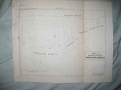 Rare Early Antique 1853 Charleston Harbor Proposed Entrance South Carolina Map N