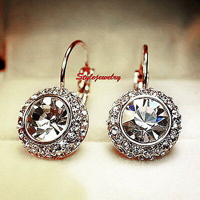 White Gold Filled Lever Back Wedding Earring Made With Swarovski Crystal XE85