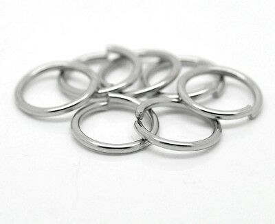 Stainless steel jump rings 13 mm 1.4 mm thick resists tarnish Ant. silver tone