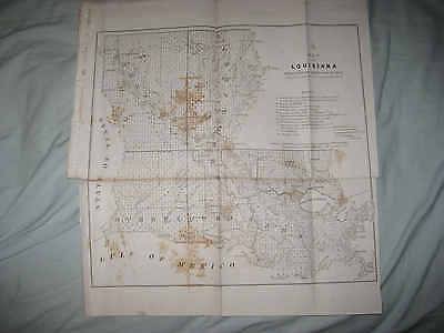 Large Rare Early Antique 1853 Louisiana New Orleans Map Flooded Lands Fine Nr