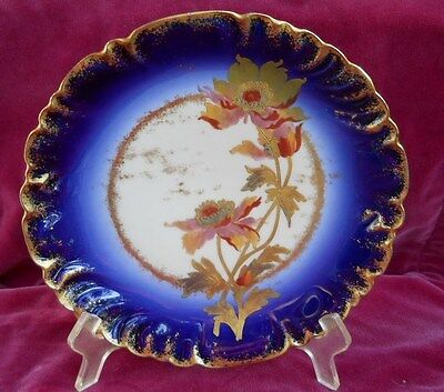 Victorian Antique Cabinet Plate S Cobalt Blue Limoges France Floral Handpainted