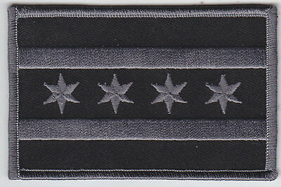Chicago Flag Illinois police Patch SUBDUED BLACK/GREY gray