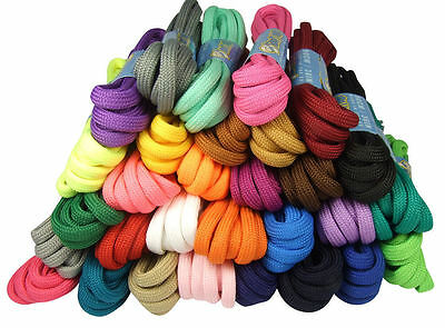 ROUND COLOURED SHOE LACES SHOELACES BOOTLACES 5mm WIDE - 5 LENGTHS - 30 COLOURS