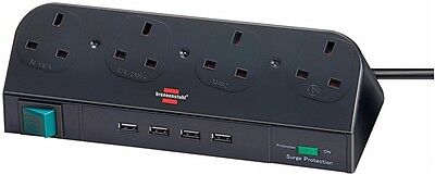 Brennenstuhl 4 Way Multi Socket Extension Lead + USB HUB + Surge Protection NEW