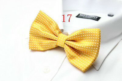 Boys Luxury 2 Layer YELLOW with WHITE Polka Dot Dickie Bow Tie Adjustable