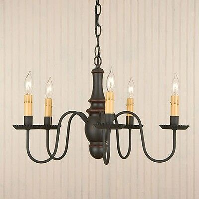 primitive homespun 5 arm STURBRIDGE black w/red wood chandelier/ FREE SHIP
