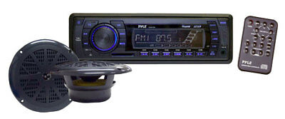 New Pyle PLMRKT13BK In Dash Marine Boat AM/FM MP3 Radio Receiver w/ USB SD Input