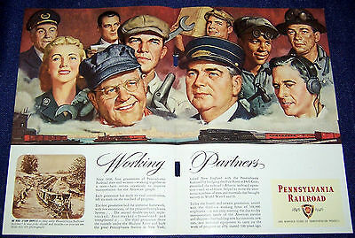 1946 2-page Ad ~ PENNSYLVANIA RAILROAD ~ Employees ~ Working Partners