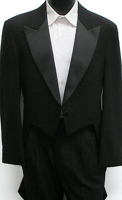 Black 2 Button Peak Lapel Tailcoat Halloween Costume Theater Dickens Dracula 40R