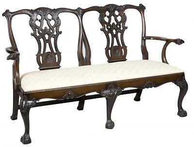 SWC-George III style Carved Mahogany Settee with Ram's Head Arms