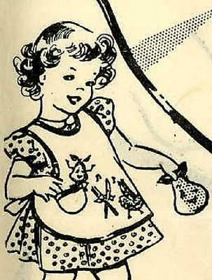 1950s Vintage APRON PATTERN for little Girls sz 3 Animated Fruit R2808