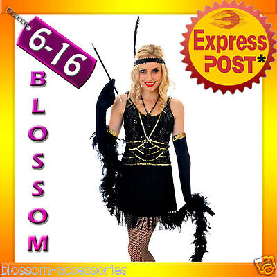 I8 20s Black Gatsby Flapper Costume 1920s Charleston Fancy Dress Abbey Outfit