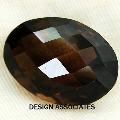 14X10 Mm Oval Cut Smoky Quartz Checkerboard Aaa All Natural