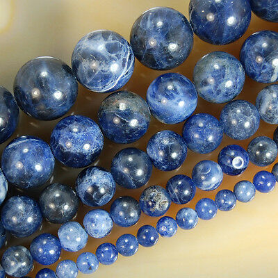 """Natural Blue Sodalite Round Beads 15.5"""" 4,6,8,10,12mm  Pick Size"""