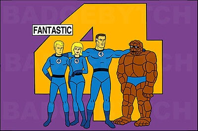 FANTASTIC FOUR  LARGE FRIDGE MAGNET- animated RETRO TV CLASSIC!