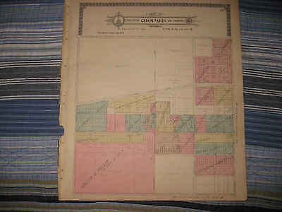 Antique 1913 Champaign City County Illinois Handcolored Map Land Owners Rare Nr