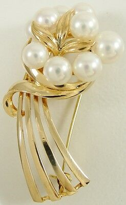 """Authentic Mikimoto 14K Solid Yellow Gold Pearl Flower Bouquet Pin Brooch 1 3/4"""""""