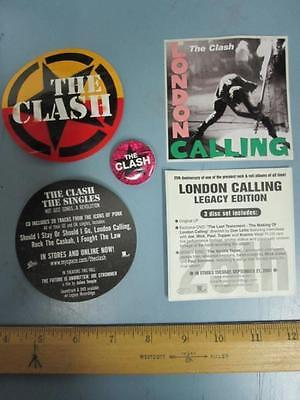 THE CLASH EPIC RECORDS 2 sticker/badge promo set ~NEW old stock MINT condition~!