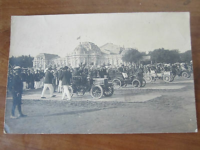 Rare Carte Photo Cpa Ancienne Course Automobile Plage De Royan Rare Vers 1900