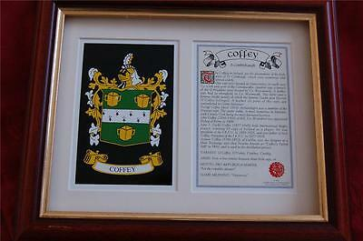 COFFEY Heraldic Framed Family Coat of Arms + Family Crest