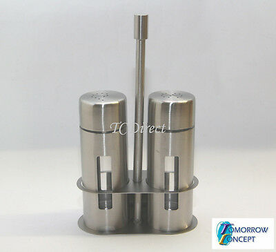 Stainless Steel Salt & Pepper Shaker Set with stand for Cafe, Restaurant