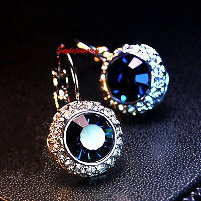 White Gold Fill Blue Sapphire Leverback Earring Made With Swarovski Crystal XE87