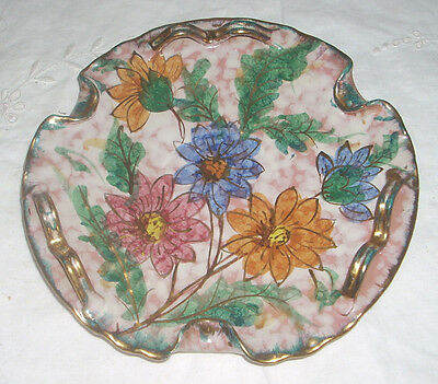 """Vintage Hand Painted Italian Majolica Pottery 8"""" Floral Motif Plate"""