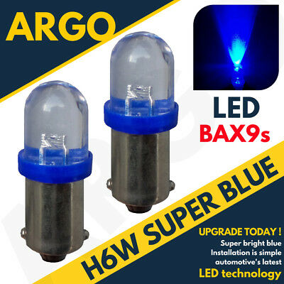 H6W LED XENON ICE SUPER BLUE SIDELIGHT BULBS 433 434 BAX9S OFFSET PINS HID x2