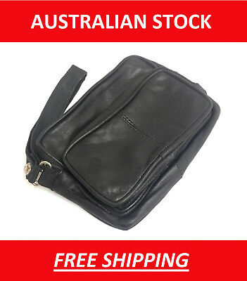 SHEEPSKIN LEATHER TOBACCO POUCH BLACK SOFT LINED & PAPER HOLDER and Zippers