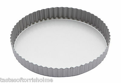Kitchen Craft Quantum Silver Non Stick Fluted Loose Bottom Quiche Tart Tin
