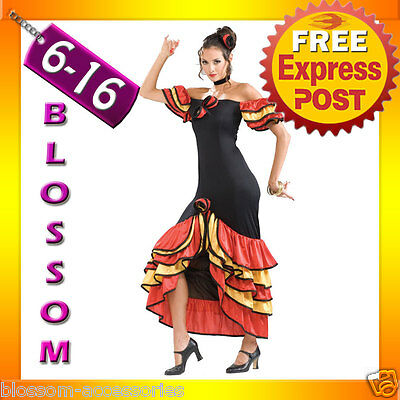 I11 Spanish Senorita Spain Dancing Costume Flamenco Dancer Fancy Dress Outfit