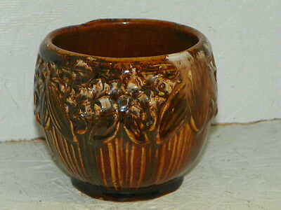 Nelson McCoy Pottery Brown Onyx Leaf Planter Vase Leves Berries Brown Blended NR