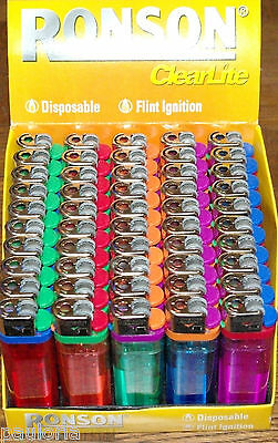 50x RONSON Clearlite DISPOSABLE LIGHTERS * Display Box of 50 * wholesale joblot