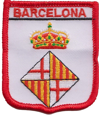 Spain Barcelona City Coat of Arms Shield Embroidered Patch Badge