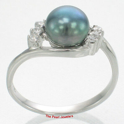 TPJ Solid 925 Silver Lavender Cultured Pearl Ring w// Cubic Zirconia Accents