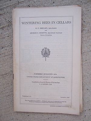 1918 Wintering Bees in Cellars Book Farmers Bulletin 1014 Us Dept of Ag Apiary P