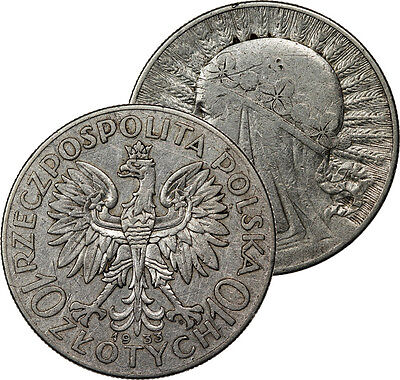 1933 Poland 10 Zlotych Silver Coin