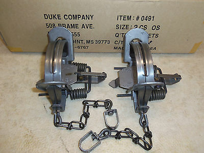 2 New  Duke # 2 OFFSET Coil Spring Traps  Raccoon Beaver Fox Coyote Trapping