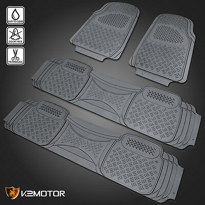 4pc All Weather Grey PVC 3D Rubber Anti Slip Trimmable Truck SUV Van Floor Mat