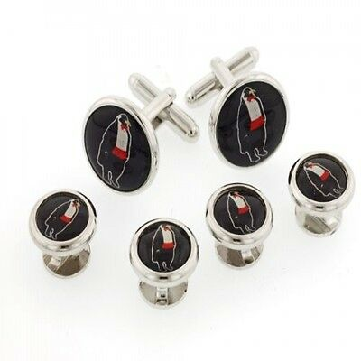 Formal Penguins tuxedo cufflinks and shirt studs silver plated