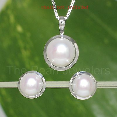 Genuine 8.5-9mm Cultured Pearl Earring & Pendant Featuring 14k White Gold TPJ