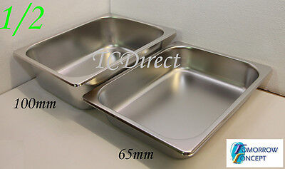 Stainless Steel Bain Marie Tray Pan GN 1/2 100mm deep for Gastronorm
