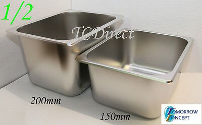 Stainless Steel Bain Marie Tray Pan GN 1/2 150mm deep for Gastronorm
