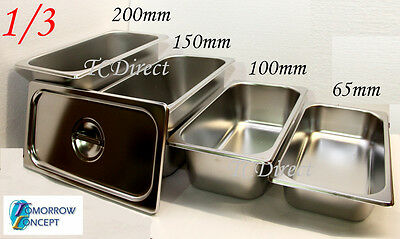 Stainless Steel Bain Marie Tray Pan GN 1/3 100mm deep for Gastronorm