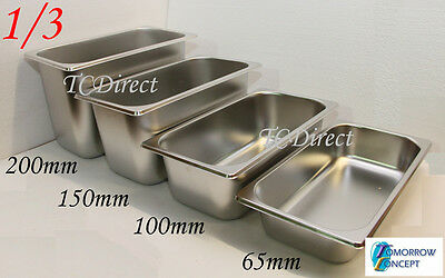 Stainless Steel Bain Marie Tray Pan GN 1/3 200mm deep for Gastronorm