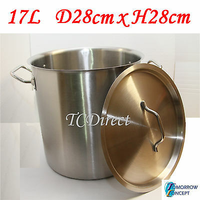 17L 28cm Commercial Stainless Steel Stock Pot Saucepan with Lid (D280xH280)