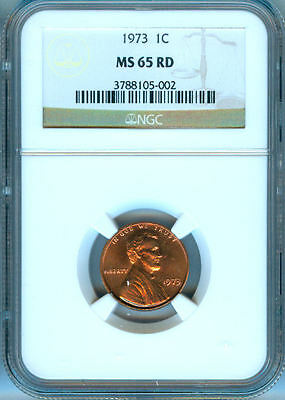 1973-P Lincoln Penney Ngc Ms-65 Red